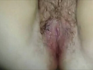 Hairy pussy licking and fingering closeup