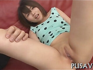 Hot asian sweetheart and a giant dildo