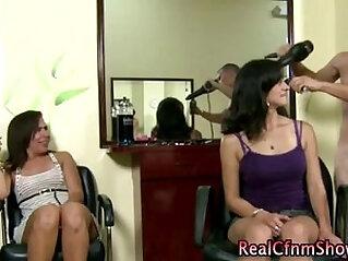 Slutty real cfnm tarts in hair salon give you a handjob