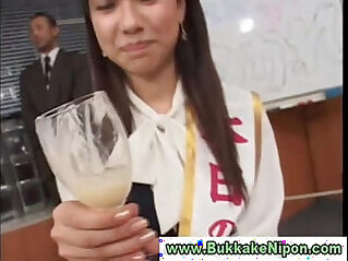 Real real asian teen drinks cum from glass in amateur groupsex