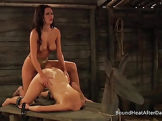 The submissive big natural boobs bouncing during strap on sex