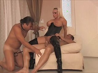 Busty dominant milf wife in latex loves cuckold sex with husband