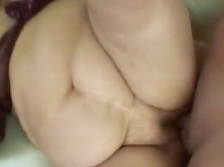 Cock hungry fat granny rubs her vagina then gets wet pussy by hard