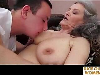 Grey hair grandmother takes deep