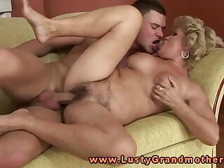 Busty amateur blonde granny pleasured by young dude