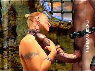 Horny 3D hentai bitch suck huge penis