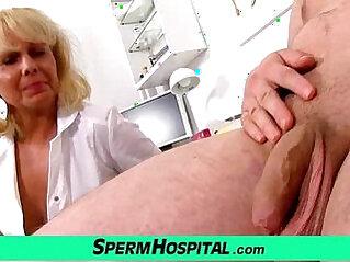 A boy gets a handjob from milf doctor Koko