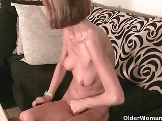Skinny grandma massages her small tits and rubs her tight white pussy