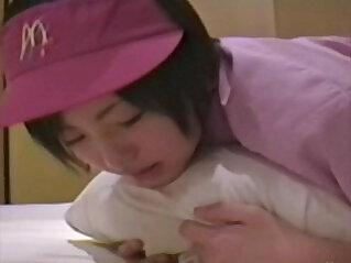 Japanese school girl 18 with McDonalds uniform