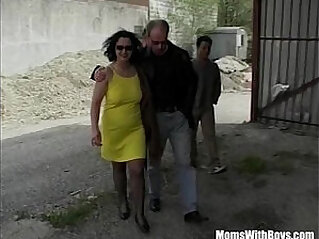 Russian Mature Stockings Takes On Three Cocks
