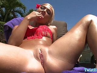 Katerina Kay rubs clit outdoors