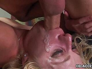 Horny brunette slut Angela Stone gets her throat fucked very hard