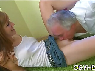 Young hottie teased by old crock