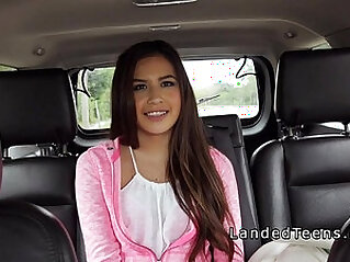 Cute Latina teen bangs in leather back seat in public