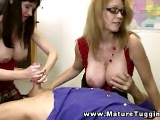 Mature handjob threeway with busty milfs